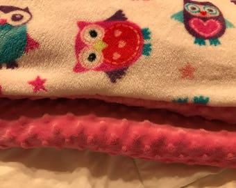 Owl mink, plush fleece, queen size blanket,
