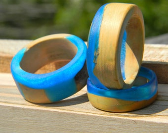 Resin Wood Ring - Blue Olive