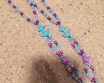 Purple starfish and anchor barefoot sandal