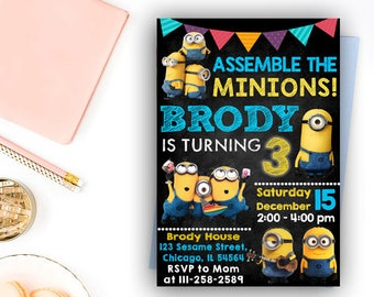 Minion Invitation, Minion Birthday Invitation, Minion Birthday, Minion Birthday Party, Minion Party, Minion Printables, Minion Birthday Card