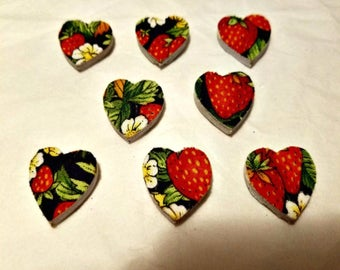 Heart Magnets / Set of 8 / Custom Made / Handmade Magnets / Strawberry Fabric / Heart Shaped / Strawberry Ribbon / Small Wooden Hearts