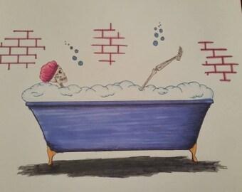 Skeleton taking a bath hand-drawn