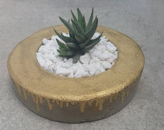 Concrete planter with gold drip