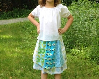 Size 6/7 and 8/10 Betsy's Gored Skirt in Organic Cotton