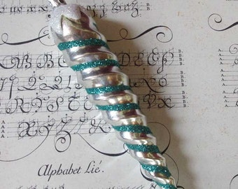 Vintage Christmas Ornament Big Spiral Icicle Hand Blown Glass Made In Germany  #86