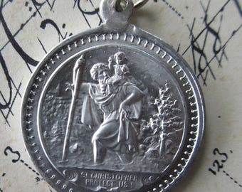 Vintage 1930s Germany Aluminum Saint St. Christopher Medal Religious Medallion Old Store Stock