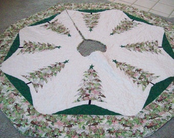 """Reversible 64"""" x  64"""" Larger Christmas Tree Skirt #12 L Quilted"""
