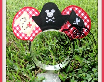PIRATE Inspired Character (3 Piece) Mr Miss Mouse Ears Headband ~ In the Hoop ~ Downloadable DiGiTaL Machine Emb Design by Carrie