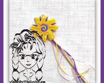 SUN Long HAiR Princess ~ Pencil Topper & WaND ~ In the Hoop ~ Downloadable DiGiTaL Machine Embroidery Design by Carrie
