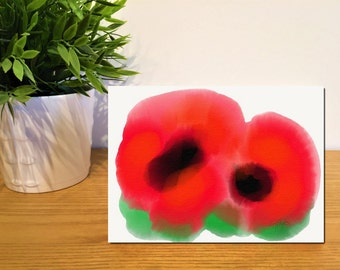 Two Poppies - Greeting Card (no text) - original design