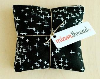 Organic Lavender Sachets in Natural Linen and Black Plus Symbol Fabric Set of 2 Lavender Scented Pillows Natural Home