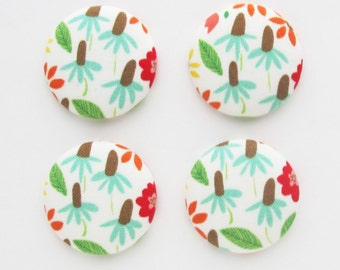 Echinacea Flat Backs 1.25 Inch | Floral fabric cabochon charms for scrapbooking embellishments, textile jewelry, magnets.