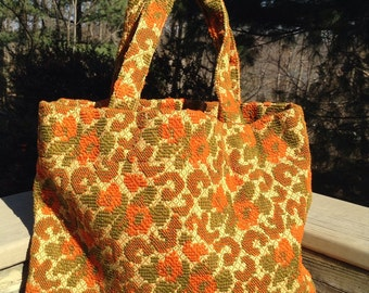 Vintage Woven Tote Orange Olive Fabric