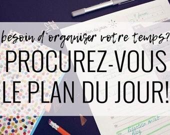 Plan du jour - feuille quotidienne d'agenda téléchargeable et pratique format lettre en français