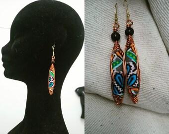 Stone Grey Angelina Ankara fabric drop earrings