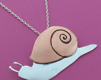 Copper and Silver Snail Necklace