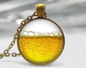 Beer Photo Pendant, Beer Art Necklace, Liquid Art Jewelry, Beer Art Pendant, Beer Art Jewelry, Beer and Bubbles Art, Bronze, Silver, 130