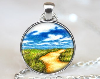 Field and Path Pendant, Blue Sky Pendant, Landscape Art Necklace, Grass Pendant, Bronze, Silver, Landscape Jewelry, Scenic Art Pendant 1077