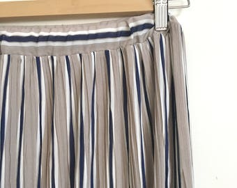 S A L E • Pleated Striped Maxi Long Skirt