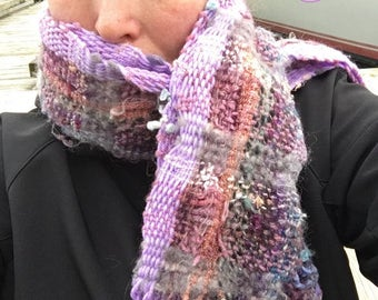 Protect PP02 Everyday Scarf in purples handwoven and felted by me
