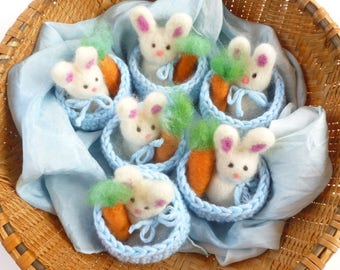 Bunny and carrot in a little basket Waldorf inspired ready to ship
