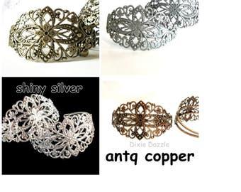 10 Cuff bracelets, filigree cuff bracelets, vintage style bracelet, filigree cuff, bracelet blank, diy wedding
