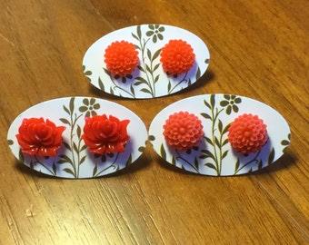 Ever So Red Resin Flower Earrings