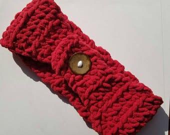 Red Ear Warmer Crochet