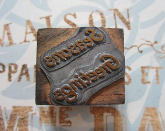 Seasons Greetings Vintage Letterpress Printers Block