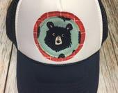 Boy/Girl Youth Trucker Hat with Bear Appliqué Patch-Fu...