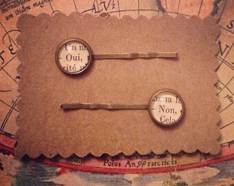 Oui & Non Hair Pins / French Hair Pins / Yes, No  / Literary Bobby Pins / Bookworm Gift Idea / Bookish Hair Pins / Stocking Stuffer
