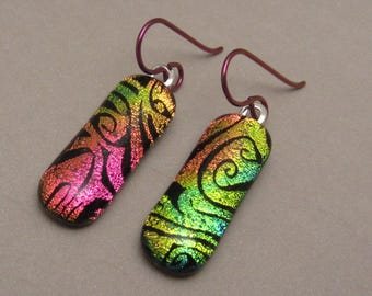 Gold Pink swirl custom etched Fused Dichroic earrings petite dichroic fused glass jewelry hypo-allergenic niobium ear wires