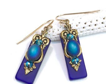 Vibrant Blue Stained Glass Earrings