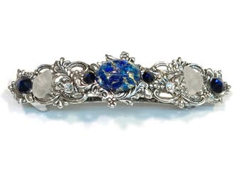 Sparkling Hair Barrette with  Dark Blue Glass Opsl Cabochon  Crystals and Beach Glass