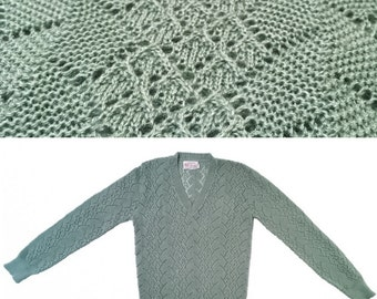 Vtg Pointelle Crochet Pale Green Sweater Medium 70s / 80s