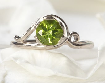 Peridot Ring - Ethical 18k Yellow or White Gold - Handmade to Size - Art Nouveau Style