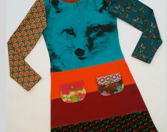 Size 8 upcycled girls fox dress, girls clothing, children's clothing, kids clothes, kidswear, girl, teal, kidsdress, pockets,upcycling