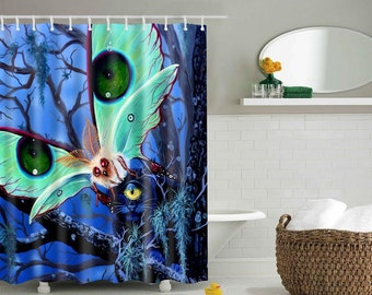 RW2 Curiosity Cyclops Cat Luna Moth Art Shower Curtain by Robert Walker