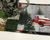 Christmas Mug Rug, Red Truck, Small Quilt, Large Coaster, Mug Rug, Christmas Gift, Stocking Stuffer, Quilted Mug Rug, Patchwork Mini Quilt