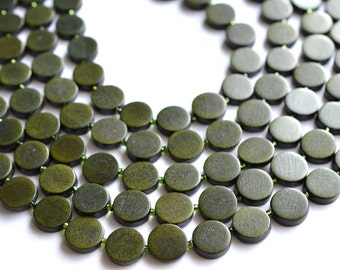 The Charlotte- Moss Green Wood Statement Necklace