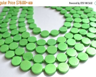 FLASH SALE The Charlotte- Bright Green Wood Statement Necklace