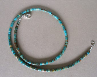 """Kingman Boulder Turquoise Heishi Necklace 20"""" - 4mm Beads - Classic Southwest Style Stacking Necklace - Men's, Women's Jewelry"""