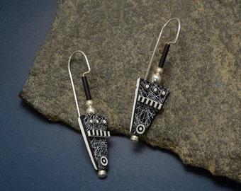 Black white polymer clay Sterling Silver dangle tribal shield earrings black glass beads bullseyes sterling beads