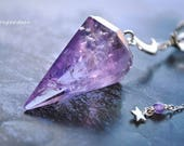 MOONS and STARS all sterling silver amethyst and rainbow fluorite pendulum set by srgoddess