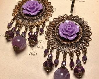 HUGE Purple Rose Filigree Chandelier Earrings