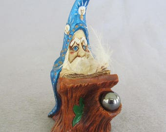 Wizard Working at a Desk Figurine-Pen Holder