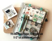 Coffee addicts pocket planner pouch - planner cover - planner accessories bag - For Big Happy Planner - Deluxe EC Planner and more