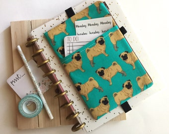 Pugs Print Zipper Pouch - Planner Pocket Pouch - Dog Lovers - Planner Accessories Bag - Pug Planner Cover - Pug Pen Pouch - BUJO Cover Pouch