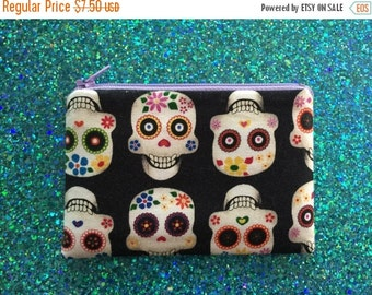 SALE - Sugar Skull Wallet, Pouch, Bag, Change Purse, Zipper Pouch, ID Holder