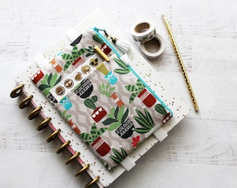 Cactus Planner Pouch - Planner Accessories Bag - BUJO cover - Planner Cover - Pocket Planner Pouch - Cactus Planner - Cactus Pencil Pouch